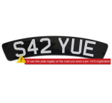 Self-Adhesive-Black-Curved-Front-300mmx55mm-Scooter-Plate-White-Lettering