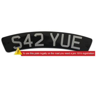 Self-Adhesive-Black-Curved-Front-300mmx55mmScooter-Plate-Silver-Lettering