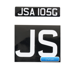 Self-Adhesive-Black-Straight-Front-Bike-Plate-White-Lettering